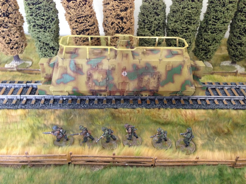 The Armored Train has two Kommandowagons for carrying the Panzergrenadiers.