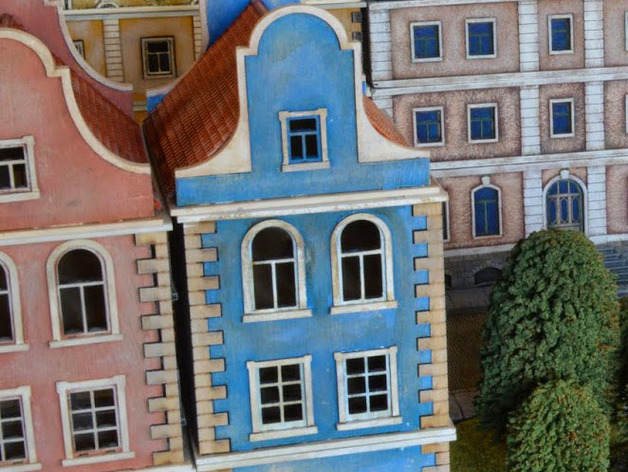 Close up of the Belgian townhouses.