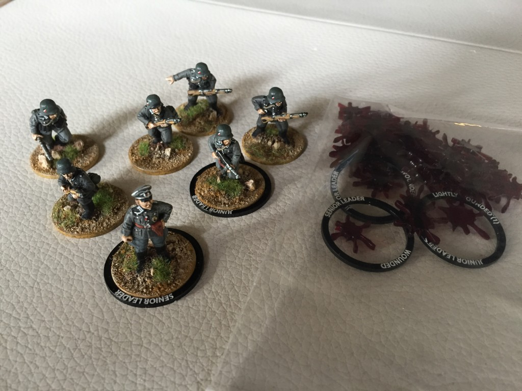 Geramn leader rings and some casualty tokens.