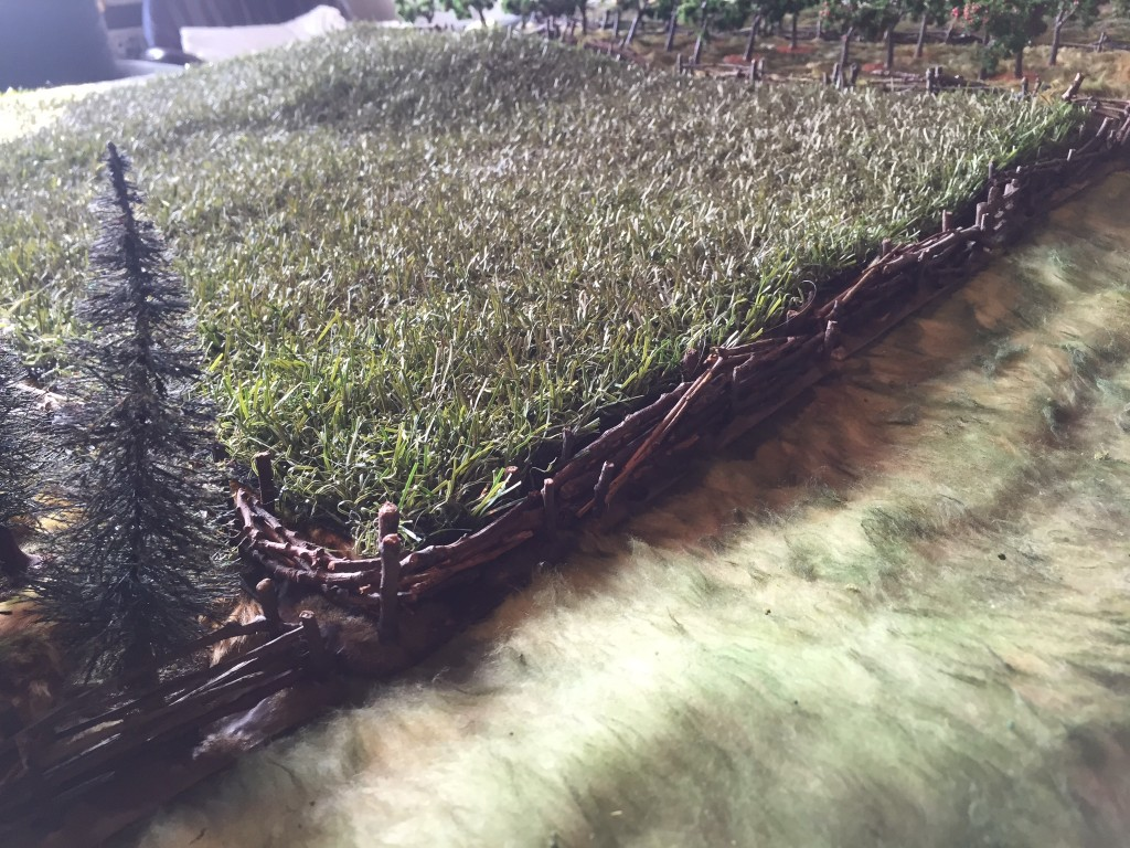 Artificial Turf drybrushed to dull it up and used as a field.